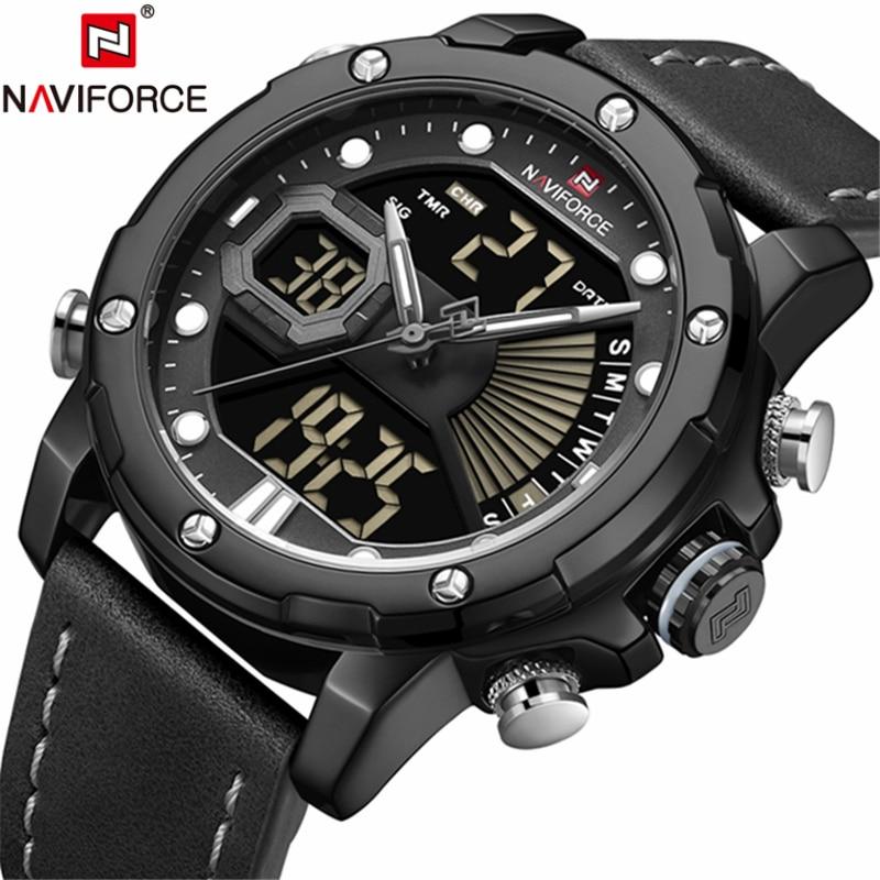 Luxury Brand Men NAVIFORCE Army Military Watch Led Digital Leather Sports Watches Quartz Mens Clock Relogio Masculino