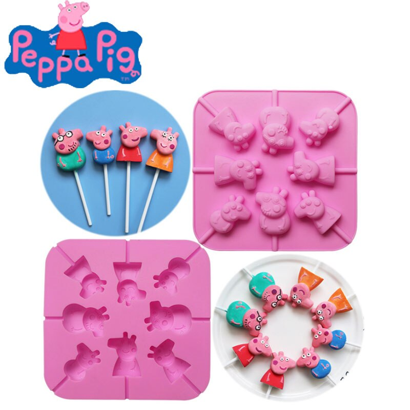 Peppa 8 Cavity Candy Mould Lollipop Gummy Jelly Candy Chocolate helado silicona Mould Bakeware torta hornear herramientas Decoración