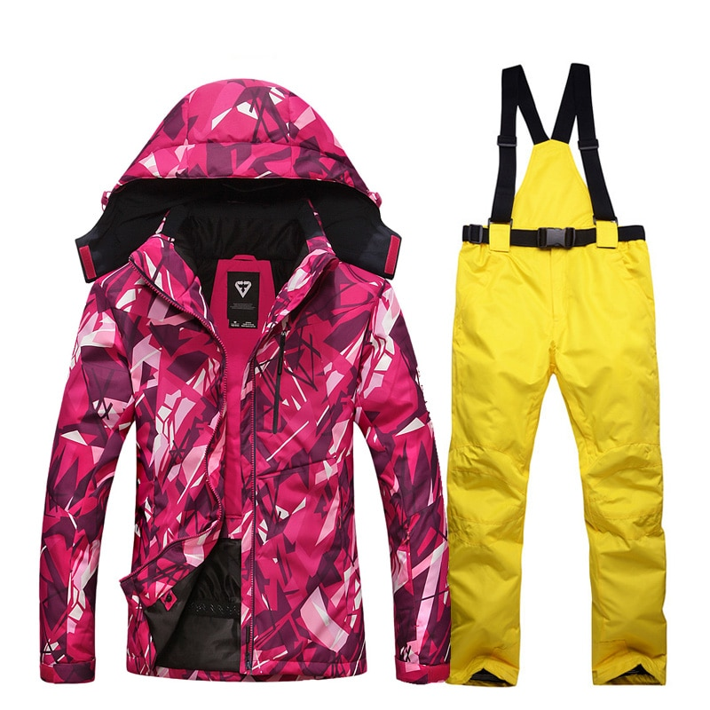Winter Women Ski Sport Suit Thick Warm Waterproof Windproof Skiing And Snowboarding Jacket +Pants Female Outdoor Snow Wear Sets winter thick warm ski suit women waterproof skiing and snowboarding jacket windproof pants set female snow costumes outdoor wear