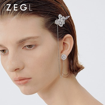 ZENGLIU Designer Smile Stud Female Simple Personality Smiley Face Barrettes Earrings One-piece Special-Interest Earrings