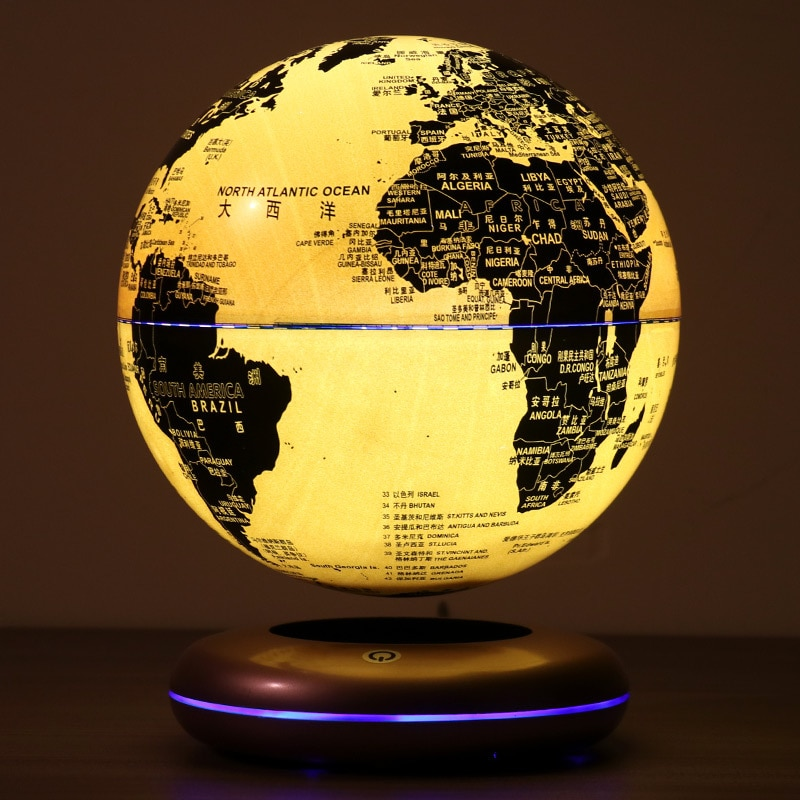 Magnetic Levitation 8 Inches World Map Luminescent Globe Floating Geoeraphy Teaching Resources&Fancy Gift Kids Toys Night Light