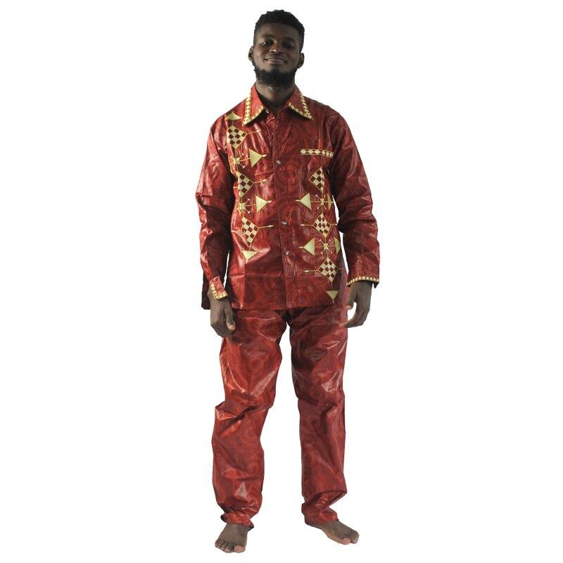 MD sur africano tradicional desgaste de alta calidad bazin riche confeccionan ropa para hombres camiseta con pantalones traje bordado de estilo africano tops