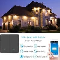 Interrupteur tactile intelligent TUYA WiFi  1 2 3 boutons  100-230V  pour Alexa et Google Home Assistant  Standard EU   UK