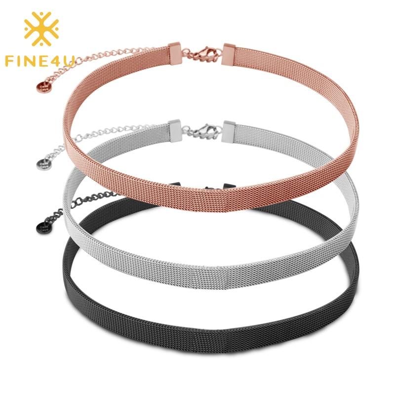 FINE4U N534 Edelstahl Halsreif Halskette Einstellbare Mesh Gürtel Halskette Für Frauen Teen Mädchen DIY Schmuck Machen