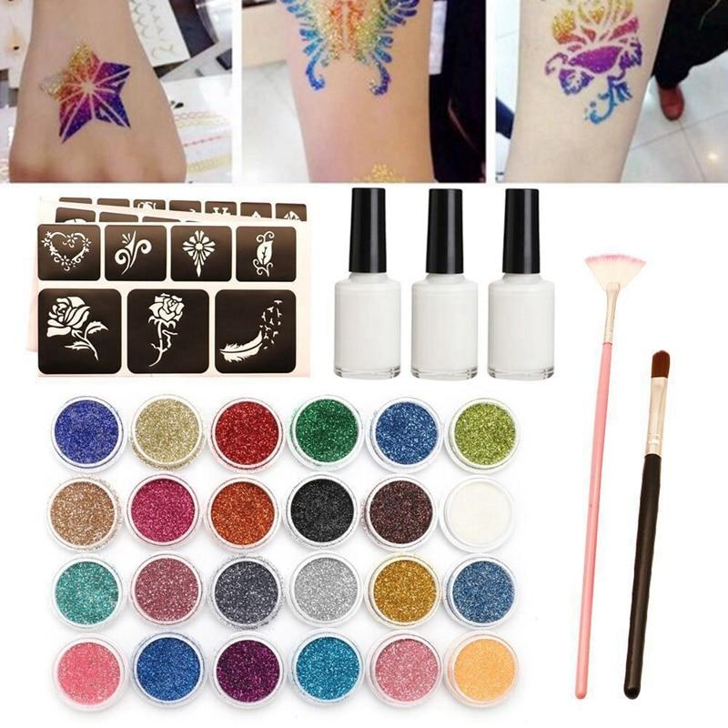 24 Color Glitter Semi-Permanent Small Tattoo Glue Multicolor Glitter Tattoo Powder Temporary Tattoo Body Painting Kit