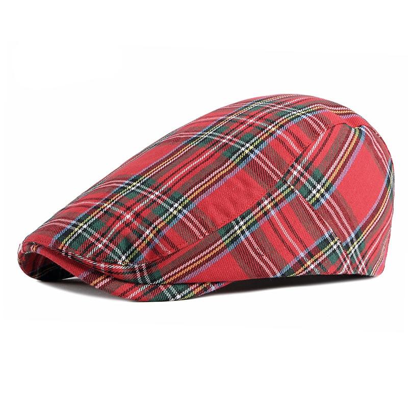 Wuaumx Fashion Fine Stripe Lattice Berets Hat Women Men Spring Summer Plaid Visors Red Green Blue Duckbill Herringbone Flat Cap