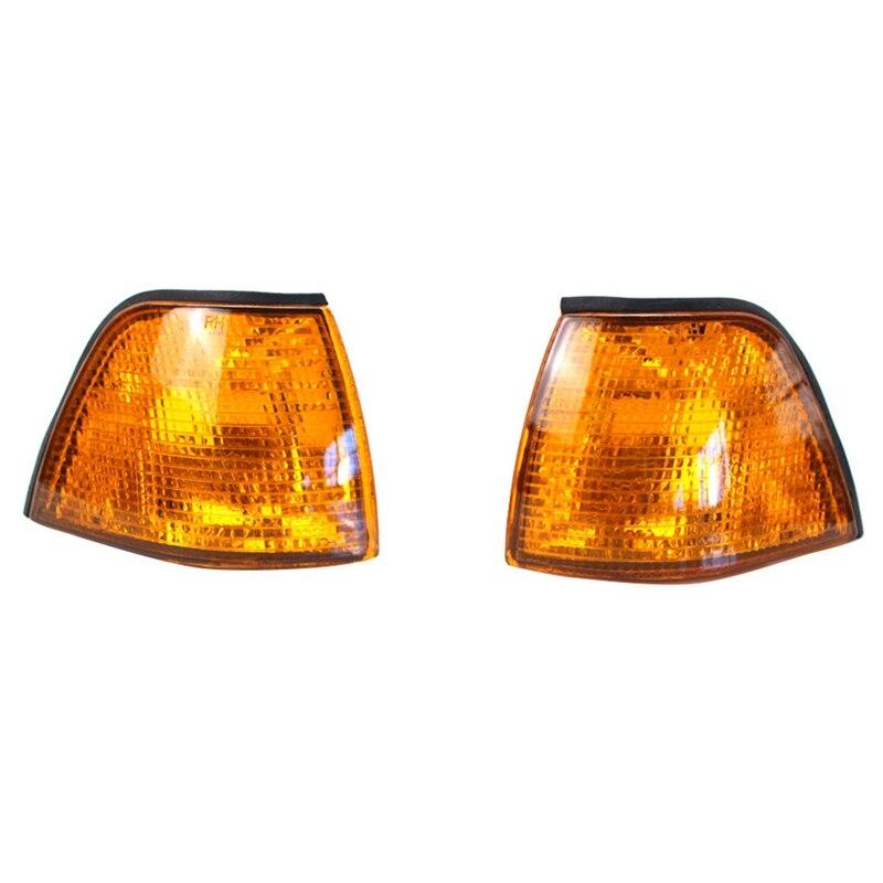2 uds luz indicadora amarilla ámbar luz de curva lente de esquina lateral luz de señal ajuste para Bmw E36 3 serie 4 puerta 1992-1998