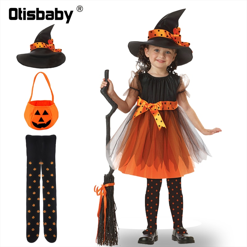 Children Girls Halloween Cosplay Witch Costume Teens Baby Girl Gown Infant Dress Clothing Set Hat Pumpkin Bag Pantyhose