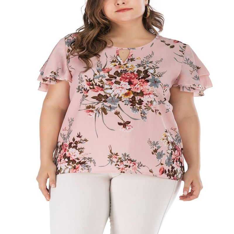 Summer new large size 5XL 6XL 7XL 8XL 9XL top bust 142CM printed sleeve round neck straight fashion women's T-shirt