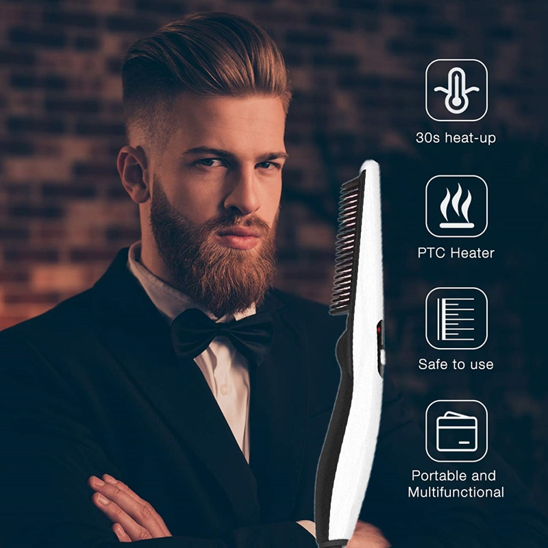 Multifunctional Hair Comb Brush Beard Hair Straightener Electric Heat Beard Straightening Comb Quick Hair Styler For Men недорого