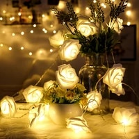 1 5m 10led artificial rose flower garland string light led fairy lights valentines day wedding christmas party decorations