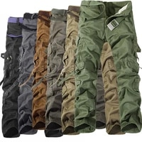 military tactical pants men multi pocket washed overalls men loose cotton pants male cargo pants for men trouserssize 28 42