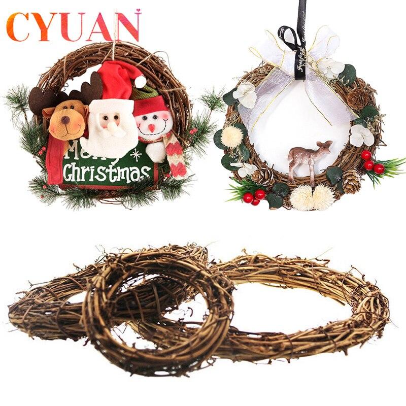 Cyuan decoração de natal para casa rattan grinalda diy casa decoração da festa de aniversário porta pendurado ornamento guirlanda 2021 ano novo decoração