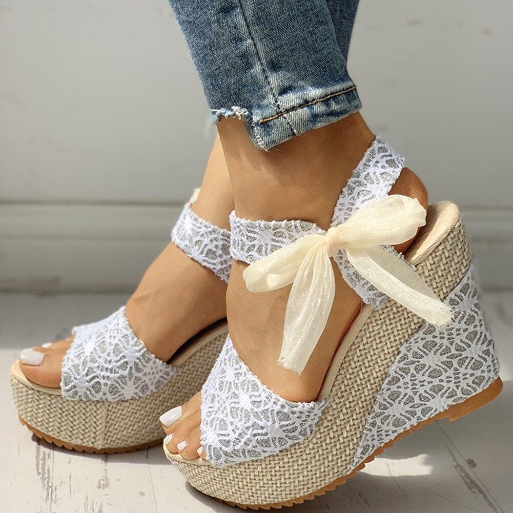 Sandalias de encaje picante con cuña para mujer, zapatos de tacón alto con plataforma para fiesta, para verano, 2020
