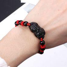 Obsidian Stone Pi Xiu Kabbalah Red String Bracelet Attract Wealth Good Luck Bracelet