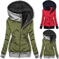 womens hooded jackets 2021 spring autumn fashion jacket zipper pocket sweatshirt long sleeve hooded coat lightweight famale r5