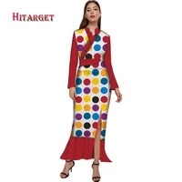 2019 summer bazin riche african dresses for woman wax print long sleeve mermaid dresses dashiki african clothes plus size wy5386