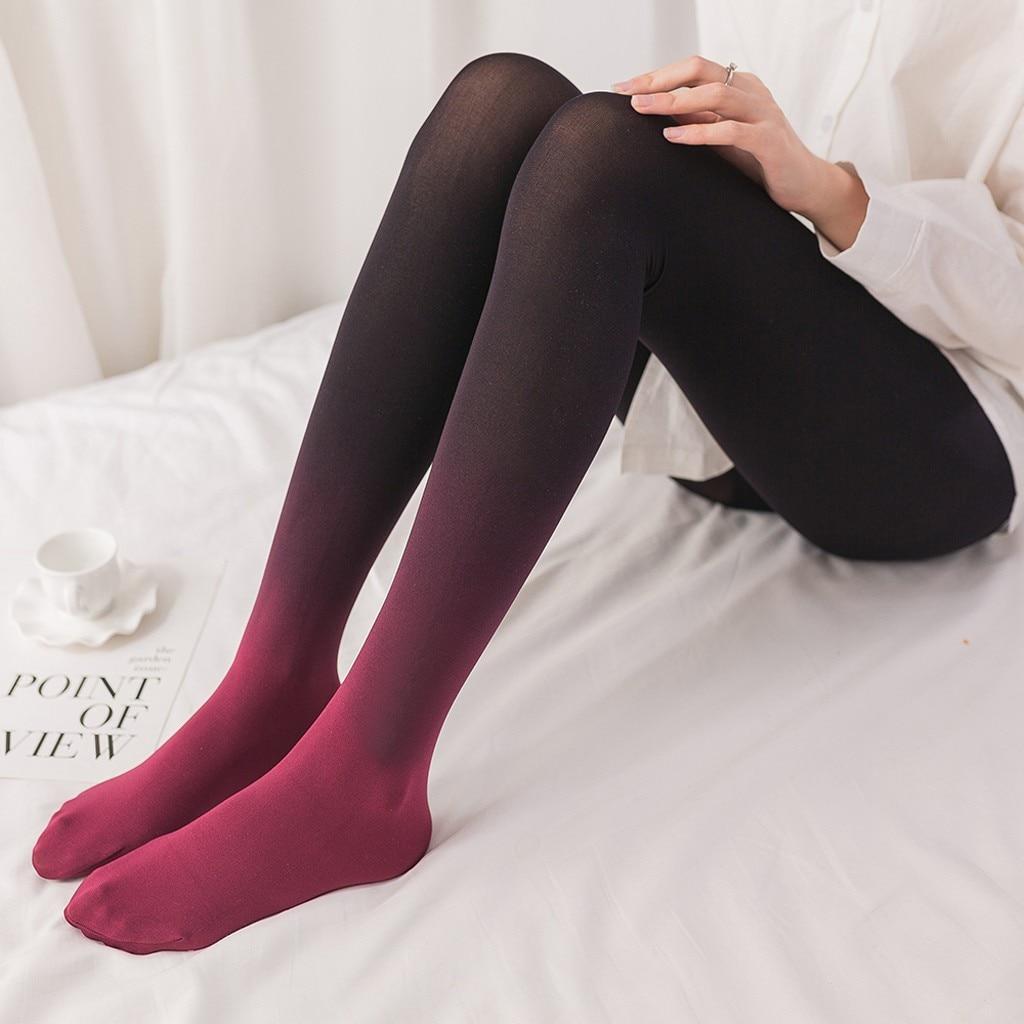 Medias gradientes de Mujer, medias elásticas de retales de Color, pantis largos antifricción, medias calcetín de Mujer Sexy