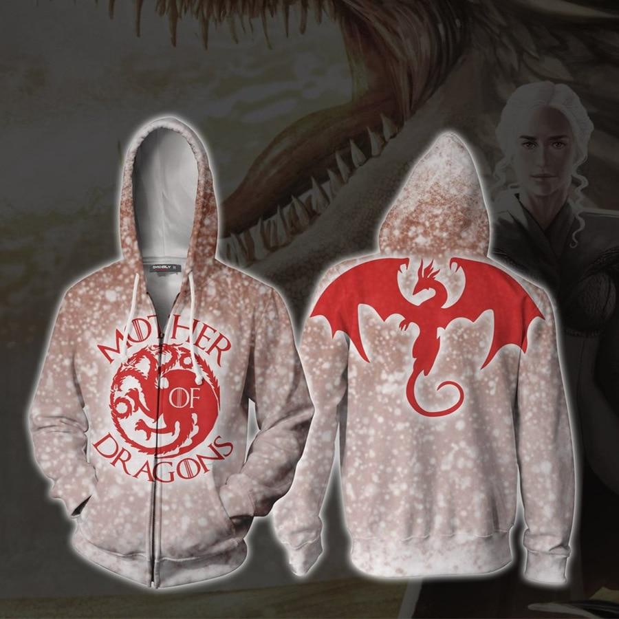 Juego de tronos casa Targaryen con cremallera Hoodies sudadera de manga larga Hoodies madre de traje de Cosplay de dragón 3D chaqueta impresa