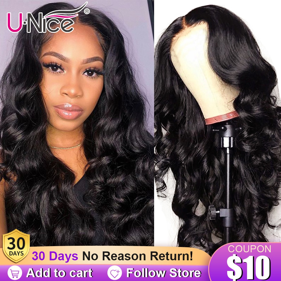 UNice Hair 4x4 Lace Wigs With Baby Hair U Part Human Hair Wigs Body Wave Pre-Plucked Best Human Hair Wig