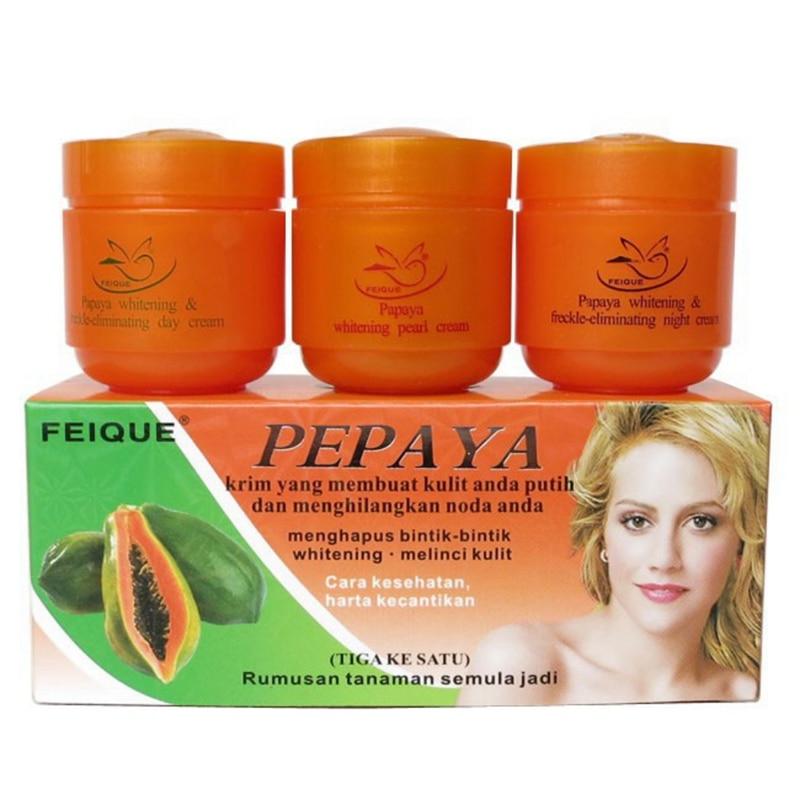 3pcs/lot Papaya whitening cream for face anti freckle natural botanical formula skin care day cream+night cream+pearl cream
