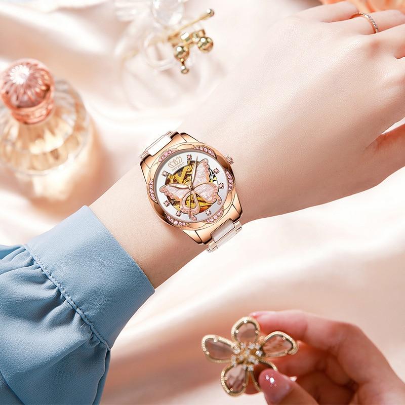 Ladies Mechanical Watch Automatic Hollow Stainless Steel Ceramic Butterfly Women Gold Luminous Quartz Complete Calendar  Luxury enlarge
