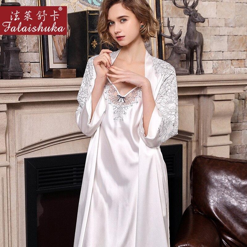 19 momme Elegant white 100% mulberry silk women robe gown sets spaghetti strap nightdress+robes wedding silky sleepwear S5623