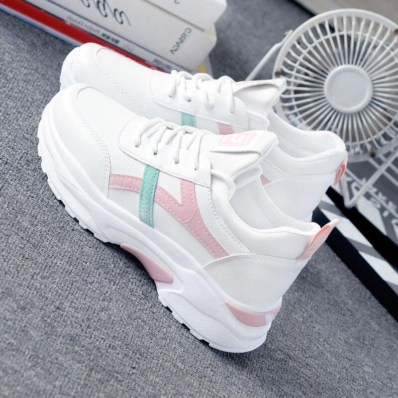 Tênis casual com cadarço branco feminino, calçado esportivo de marca respirável com cadarço