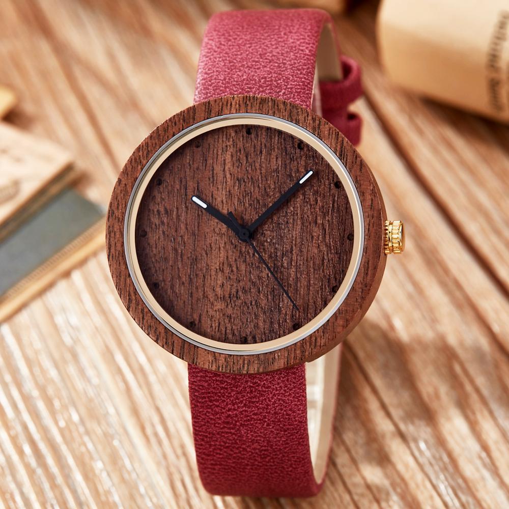 Real madeira dial relógio masculino feminino relógio de pulso casual rosa vermelha sândalo de madeira relógios de bambu masculino feminino couro marrom banda