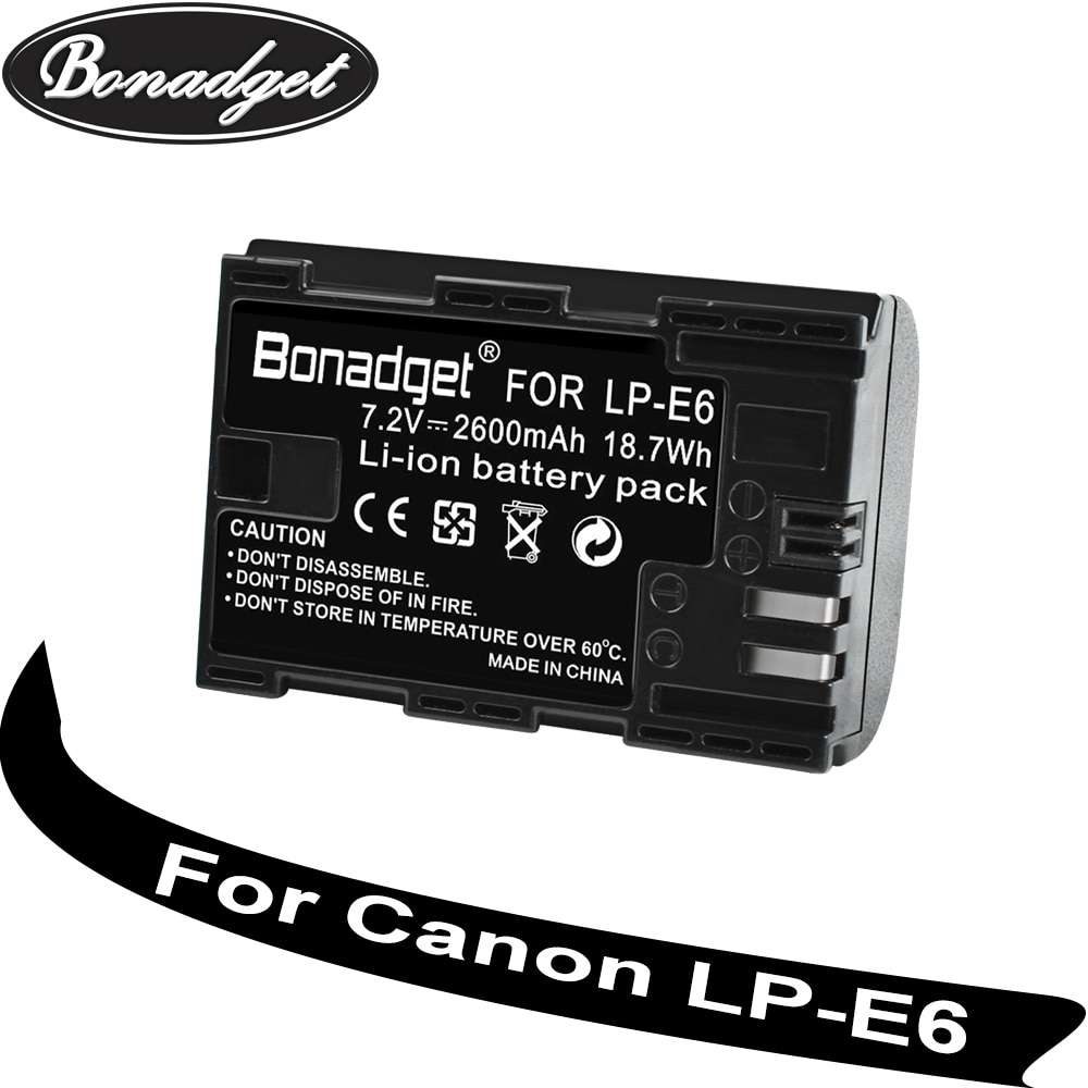 Bonadget LP-E6 LP E6 LPE6 7.2V Bateria Recarregável 2800mAh Para Canon 5D 6D 7D 60D 60Da 70D 80D Para Canon Acessórios Bateria