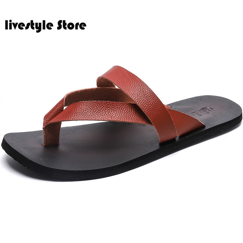 2021 Flat With Beach Fashion Outside Men's Slippers Leisure Concise Genuine Leather Summer Flip Flops Sewing Men Shoes