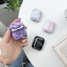 Чехол для наушников с цветным мраморным рисунком, чехол для наушников Apple Airpods I II, чехол для Bluetooth гарнитуры, чехол из поликарбоната
