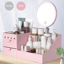 Espelho led maquiagem organizador do banheiro grande capacidade gaveta caixa de armazenamento maquiagem cuidados com a pele penteadeira menina cosméticos beleza caso