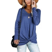 women long sleeve twist t shirt v neck solid loose knotted front tee tops ladies casual autumn t shirts spring basic girls top