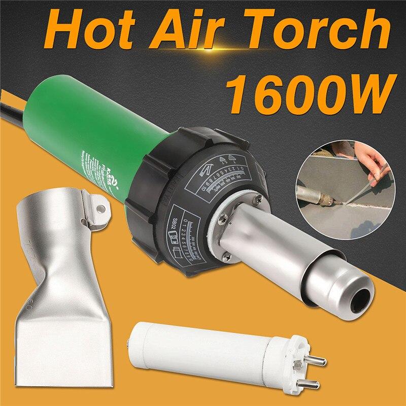 AC 220V 1600W 50/60Hz Electric Hot Air Torch Plastic Welding Gun For Plastic Welder+Electric Heating Core+Flat Nose Accessories