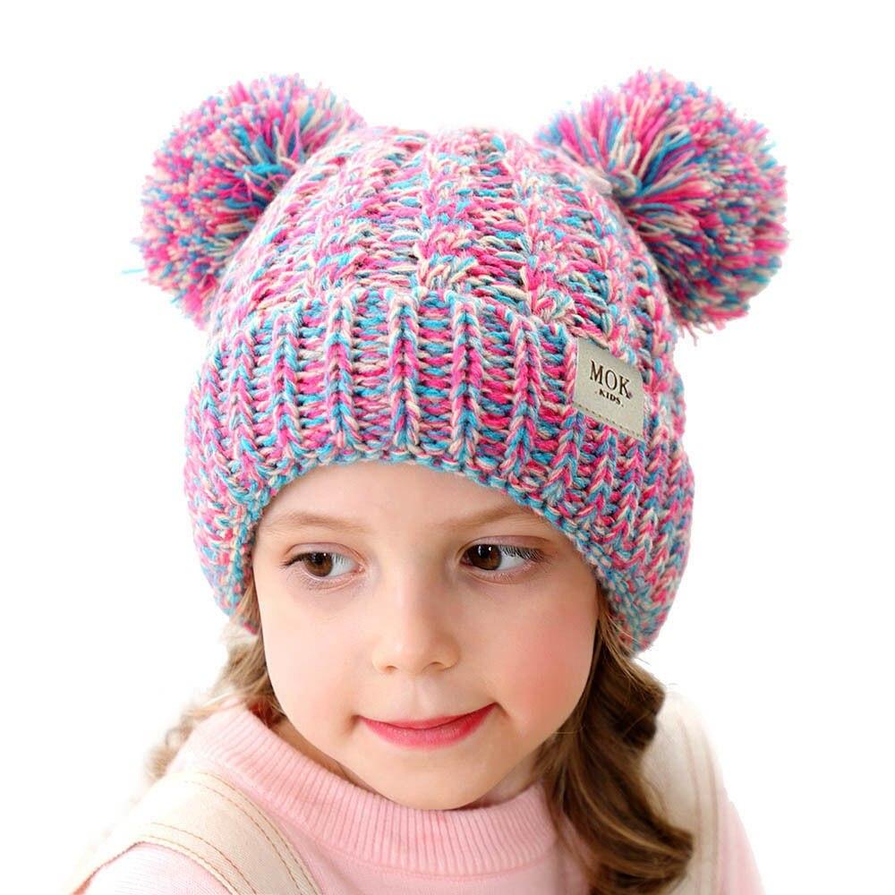 Gorros y gorras de marca para invierno cálido sombrero de punto para niños niñas Pom sombrero infantil de punto sólido sombrero H199D