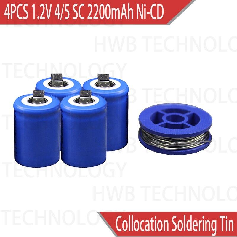 4 Pçs/lote Ni-Cd 1.2V 2200mAh 4/5 SubC Sub 4/5SC ferramentas De Poder da bateria Bateria Recarregável com Guia-Azul Frete grátis