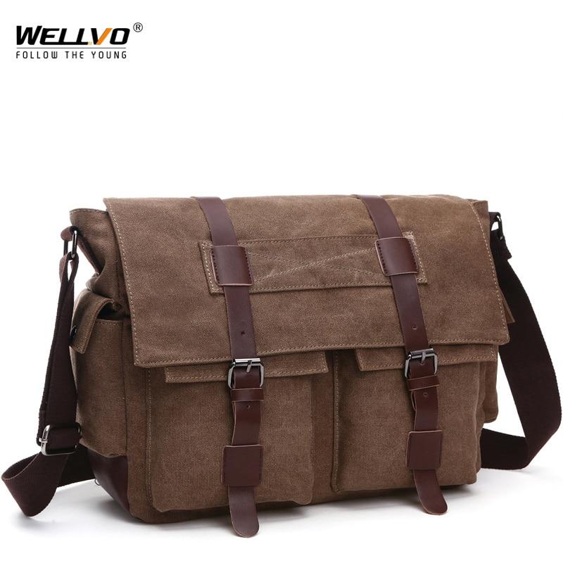 Retro Men Messenger Bags Canvas Handbags Leisure Work Travel Bag Man Business  Crossbody Briefcase for Male Bolsas XA108ZC