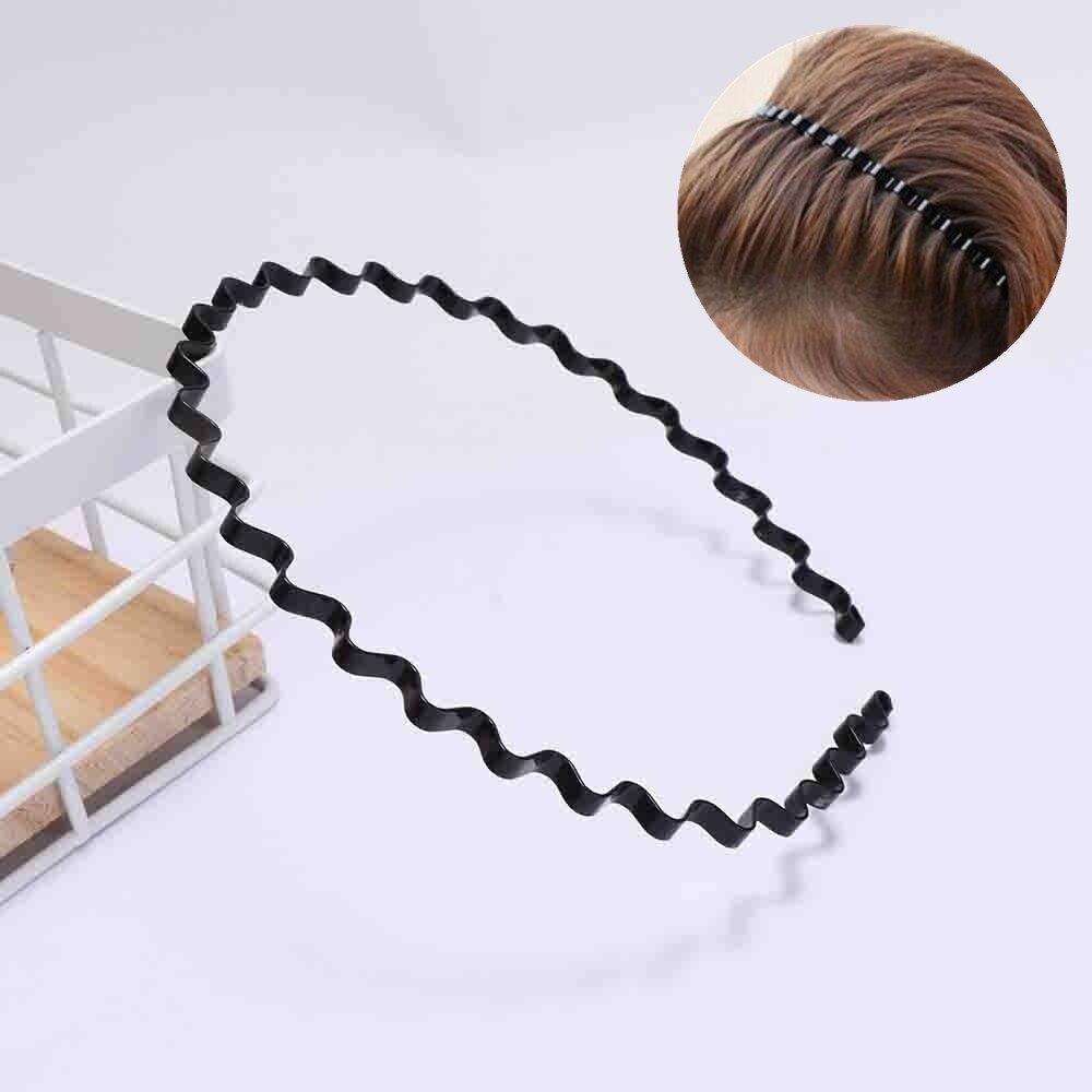 Cinta para el pelo Unisex con ondas en Zigzag, cinta para el pelo estilo informal, metálica, para el pelo, 1 pieza de accesorios para el cabello
