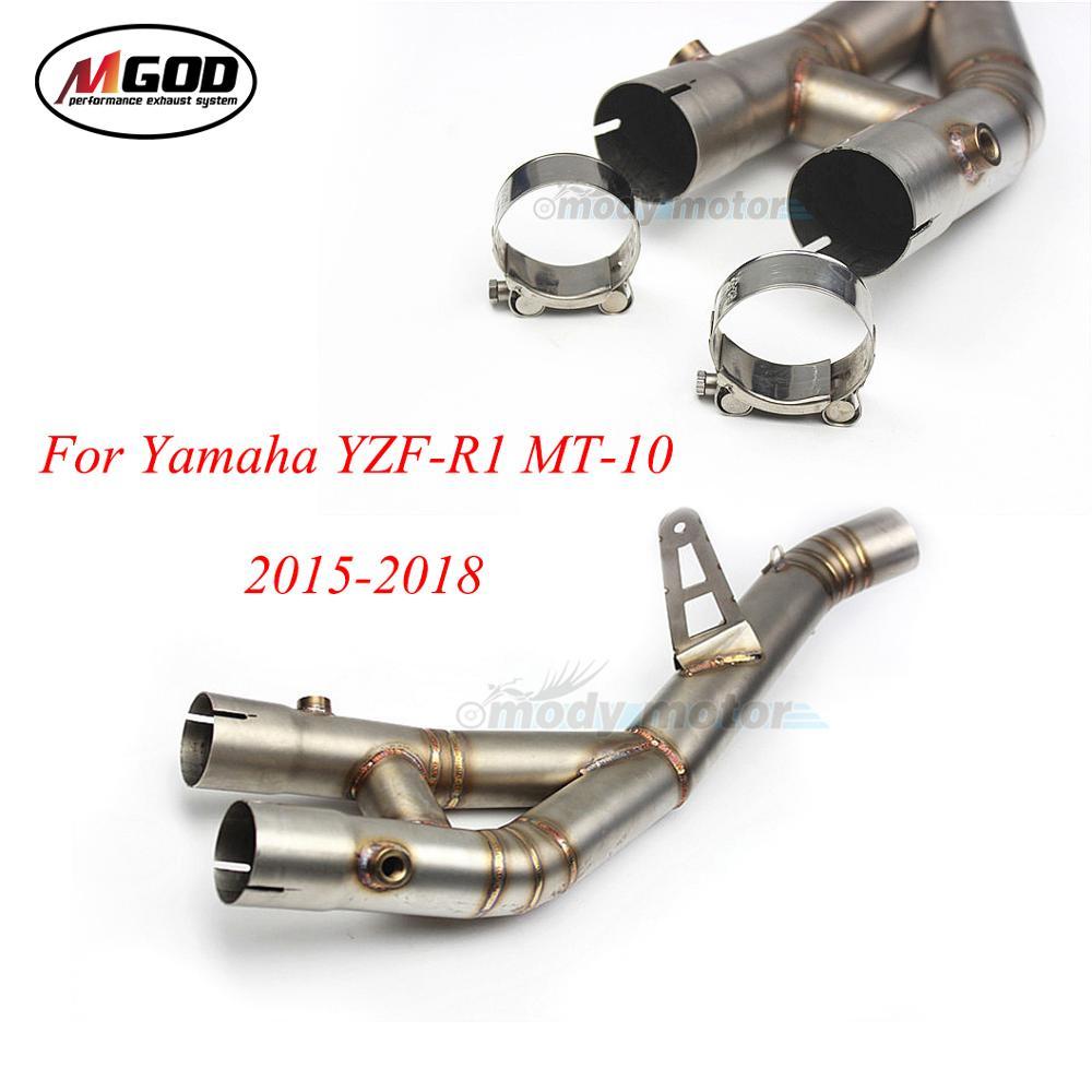 R1 MT10 silenciador de escape para motocicleta 60mm medio tubo de conexión tubo Piezas de motocicleta Slip-on medio para YZF R1 2015, 2016, 2017, 2018