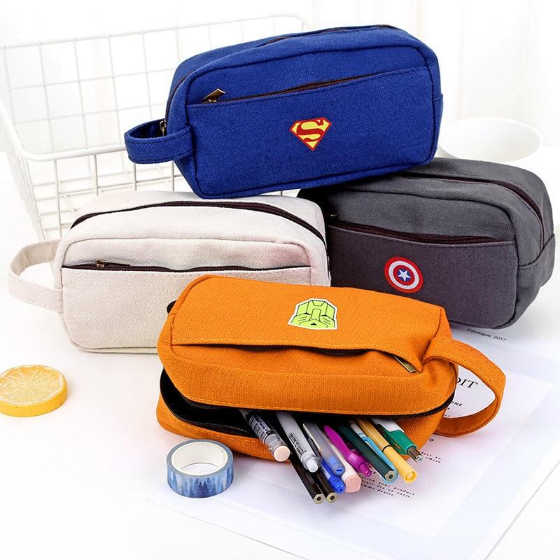 Creative Superhero Cute Pencil Case Office School Kawaii Pen cases Gifts for Kids Stationery Bag Cartoon Animal Pen Storage Bag