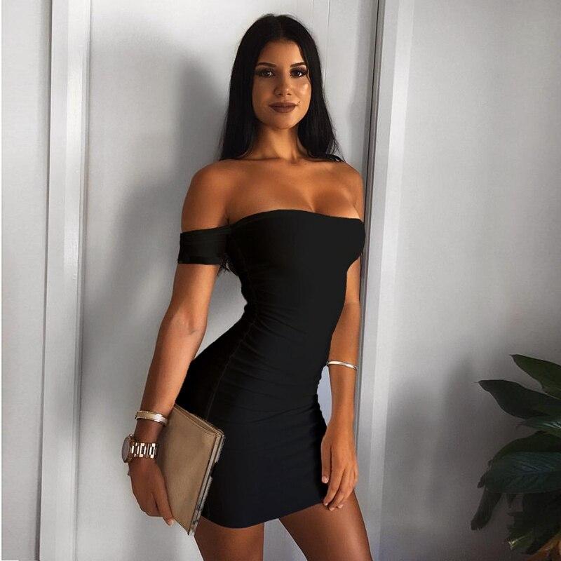 2019 verano off shuolder negro blanco Slash cuello Sexy cadera club nocturno Mini vestido mujeres fiesta ajustado corto fiesta Noche Vestidos
