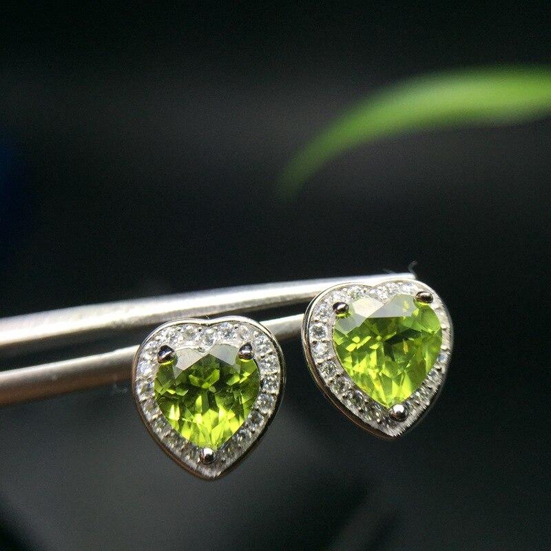 MeiBaPJ, pendientes de tuerca con piedras preciosas naturales de Peridoto, pendientes de piedras verdes de plata auténtica 925, joyería colgante delicado para mujeres