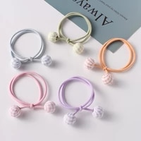 free shipping womens 5pcsset hairties girls korea style ball rubber band hair bands ponytail holder hair accessories