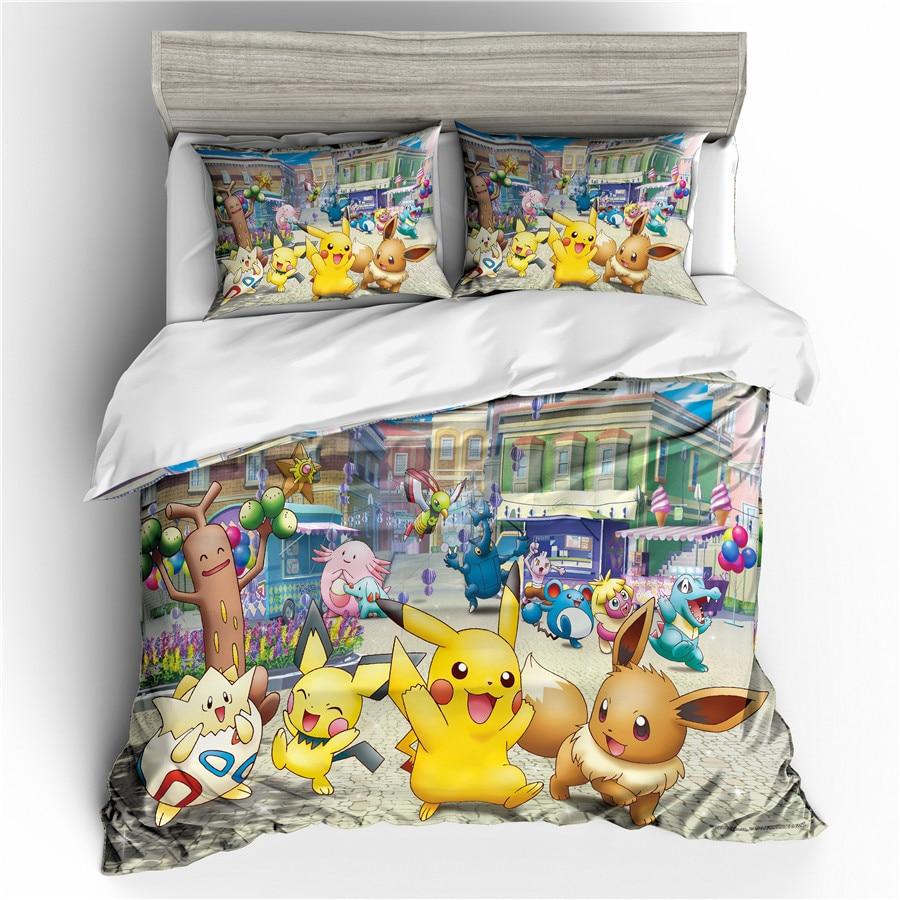 Juego de ropa de cama 3D impreso edredón juego de cama Pokemon Pikachu Textiles para el hogar para adultos ropa de cama con funda de almohada # PKQ04
