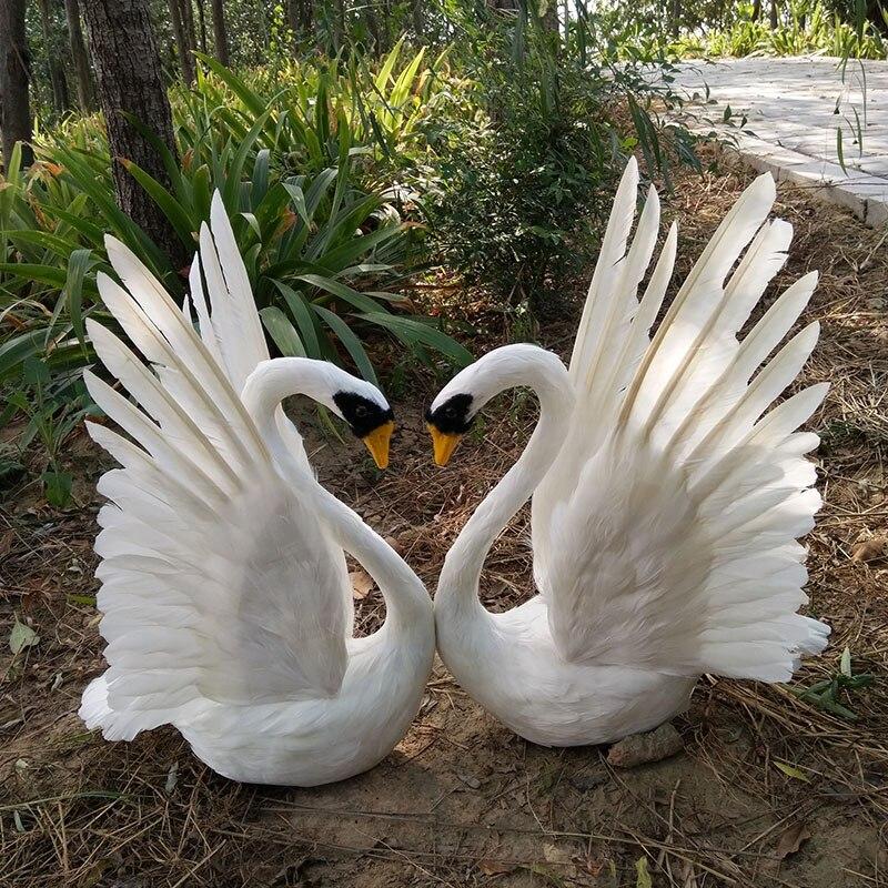 a pair of simulation wings swan models foam&fur lifelike white swan dolls gift about 30x48cm