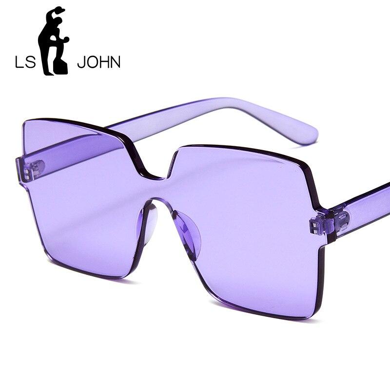 LS JOHN Gafas de sol cuadradas de gran tamaño para mujer 2020, marca de diseñador de lujo, planas, de alta calidad, de una pieza, Gafas de sol para hombre, espejo de sombra UV400