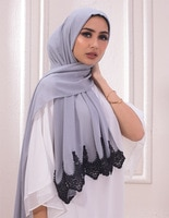 Design Bubble Chiffon Black Lace Woman Scarf Hijab Fashion Muslim Lady Solid Shawl Scarves 10pc/lot Wholesale Bandana