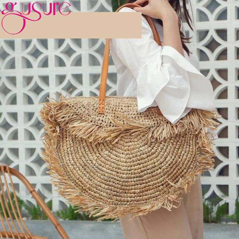 Gusure, bolso bohemio de paja con borlas redondas para mujer, bolsos de hombro de mimbre de papel con punta de diseñador, bolsos de mano informales grandes, bolsos de playa de verano