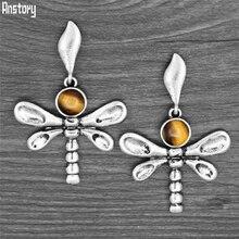 Vintage libélula Tige Eey pendientes de cuarzo tachuela para mujer Chapado en plata antigua Natural lapislázuli Unakite pendientes de moda